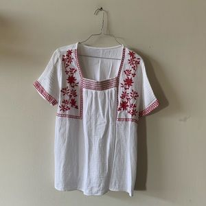 Tops - Vintage 60s 70s gauze embroidered peasant top
